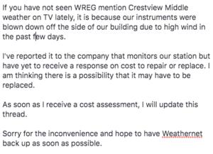 CMS Weathernet down