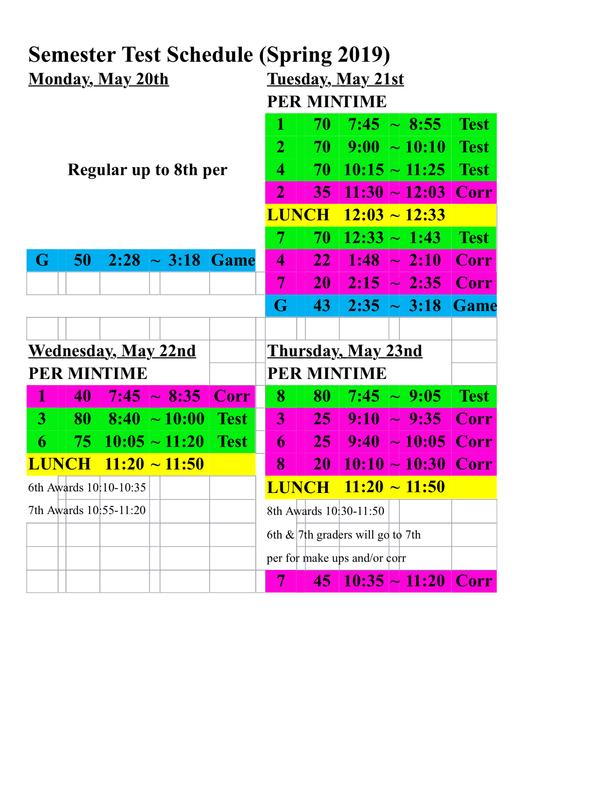 Semester Exam Schedule & Awards Featured Photo