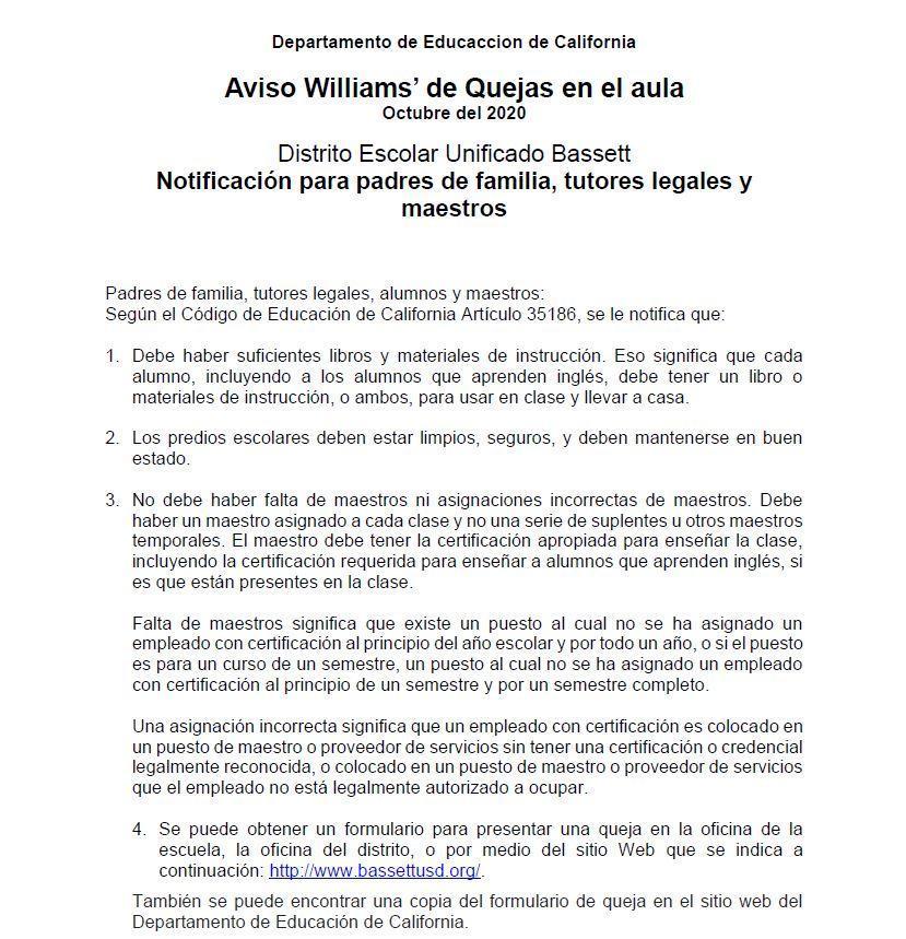 Williams Complain Notice Spanish 2020-2021