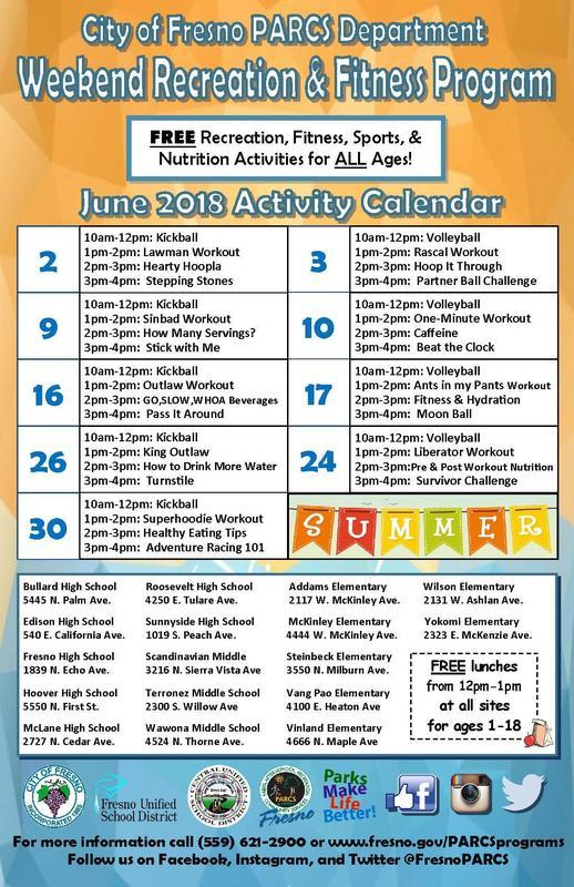 Fresno PARCS schedule