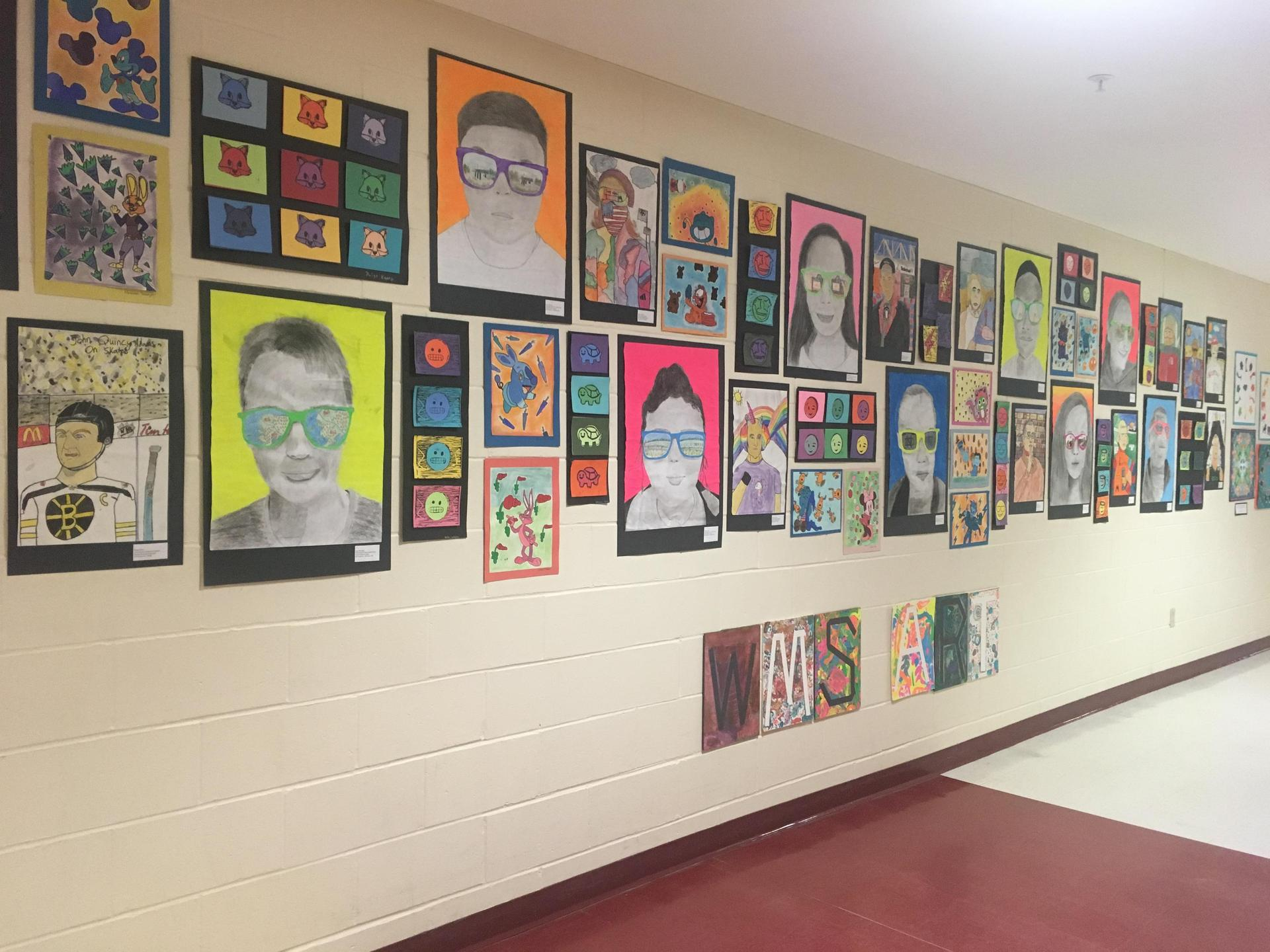 display from the 2018 RSU14 Windham/Raymond Student Art Show