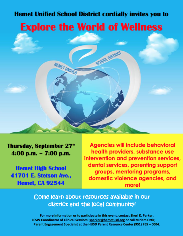 Resource Fair on September 27 from 4:00-7:00 at Hemet High School.