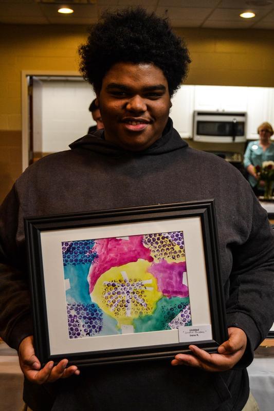 Student showcasing art