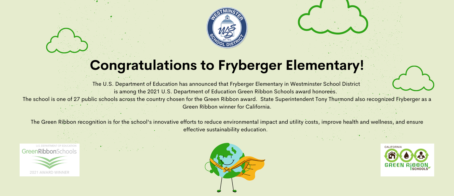 Fryberger wins Green Ribbon honors