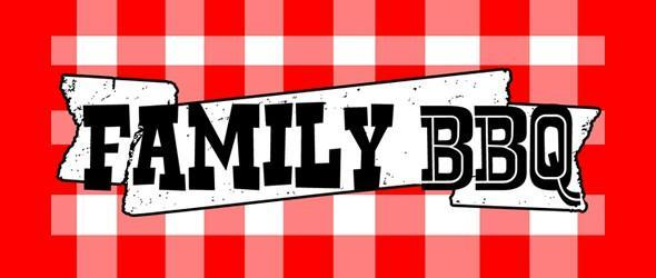 Family BBQ on red and white checkered background