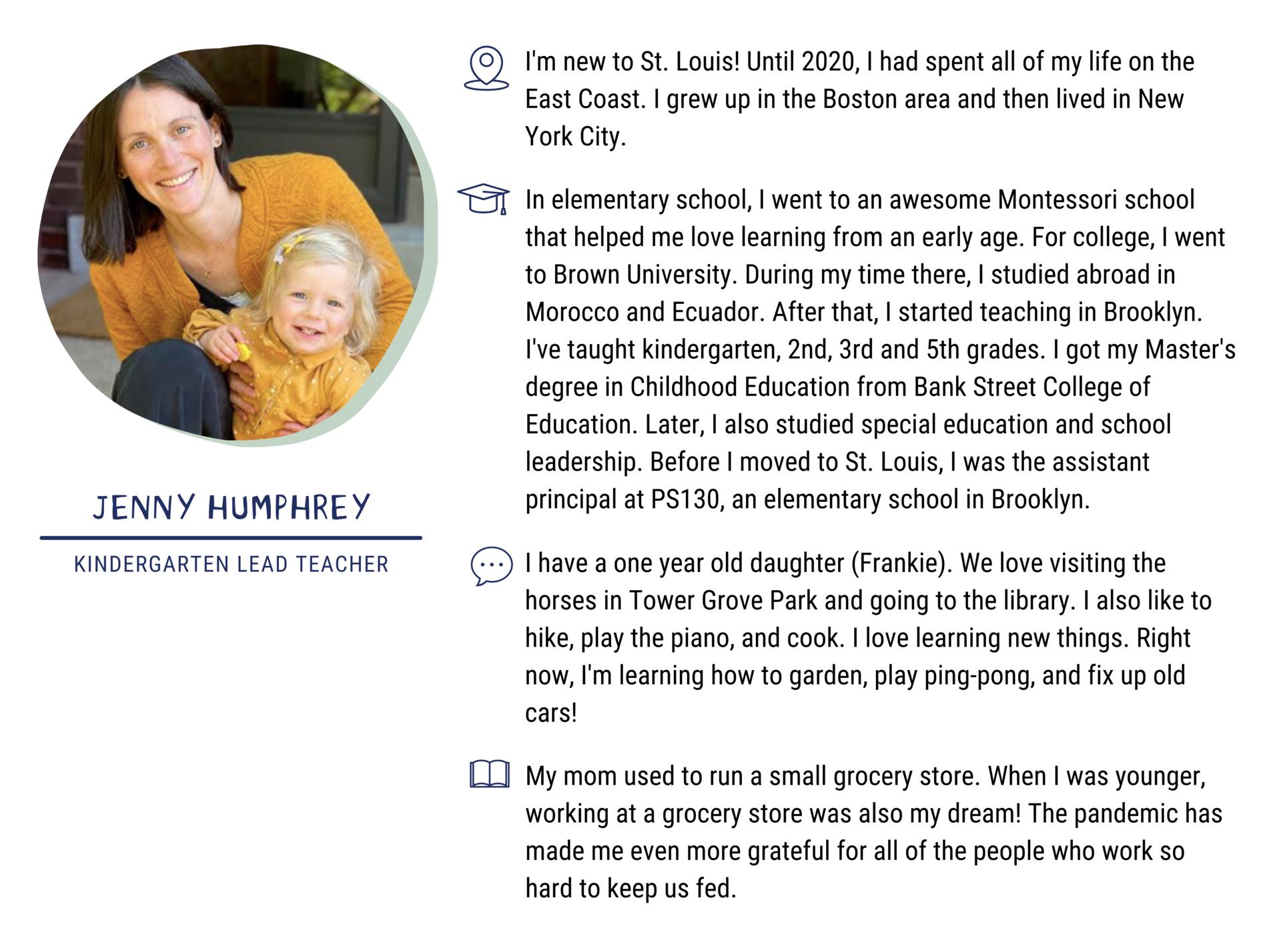 Jenny Humphrey, Kindergarten