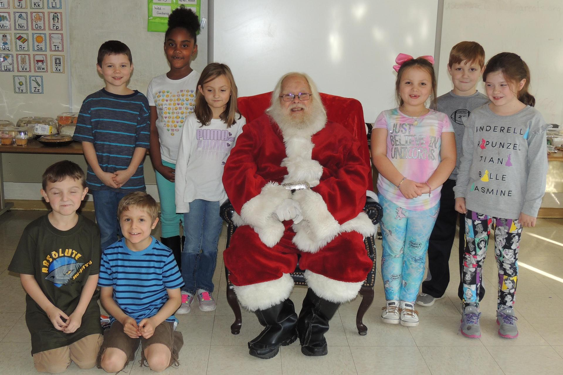 Classroom pictures with Santa