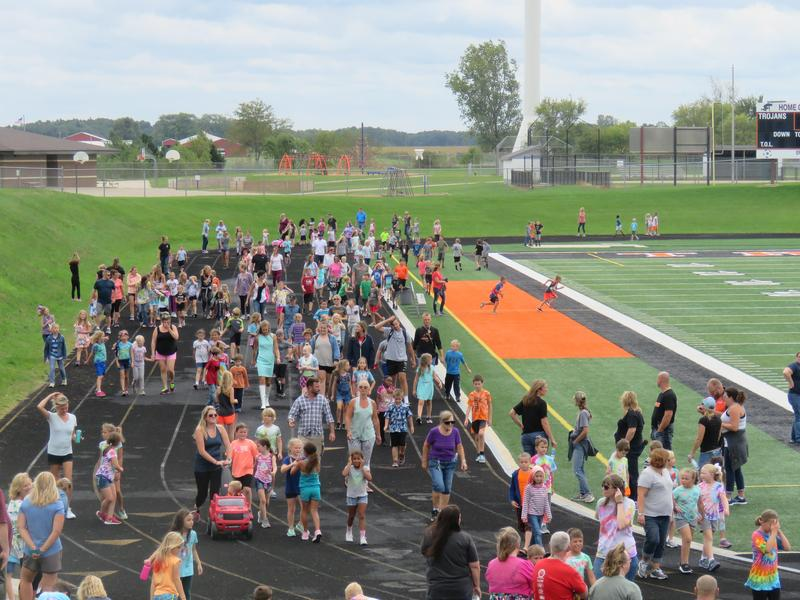 TK families and community members support the Elementary PTO walk-a-thon.