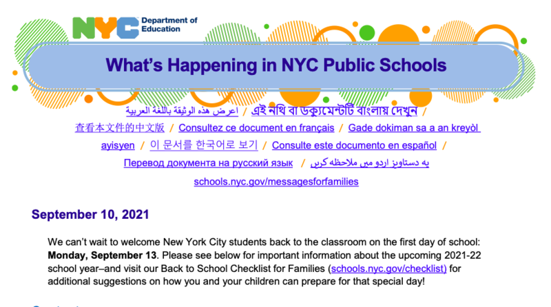 **NYC DOE Family Update** Featured Photo