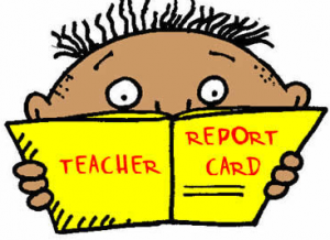 Picture of a child holding a report card