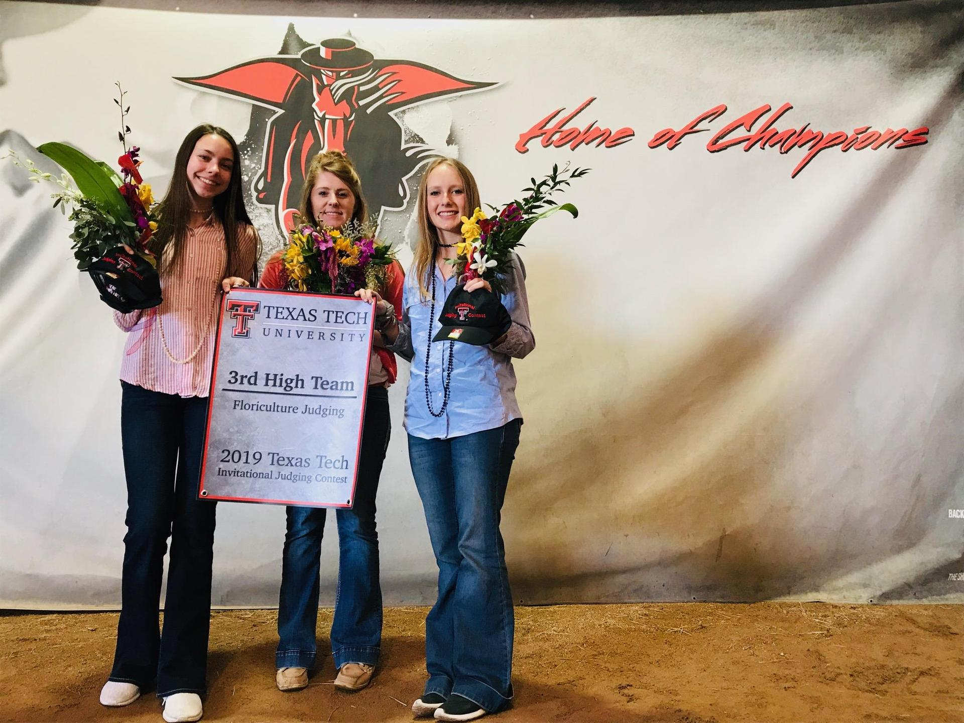 Frenship FFA's floriculture team at Texas Tech University Contest.