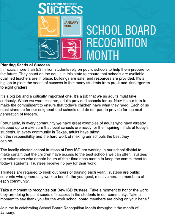 January is School Board Appreciation Month Featured Photo