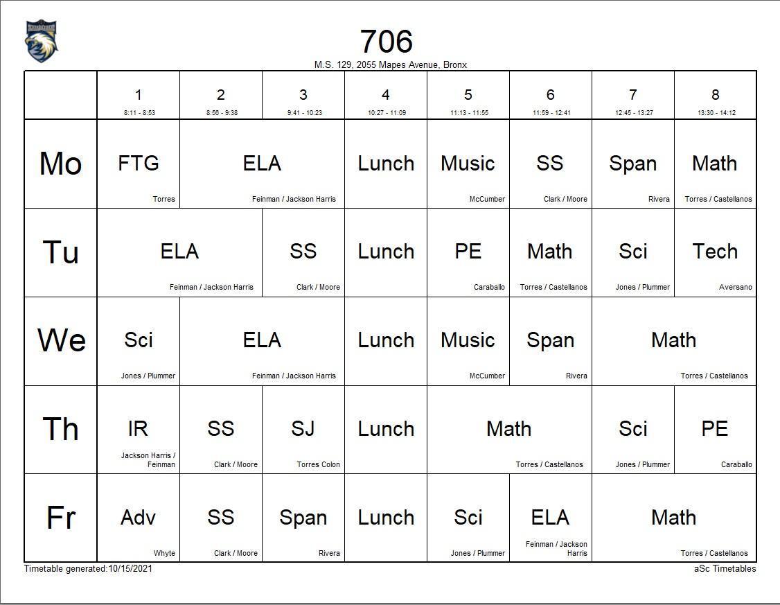 706 class schedule