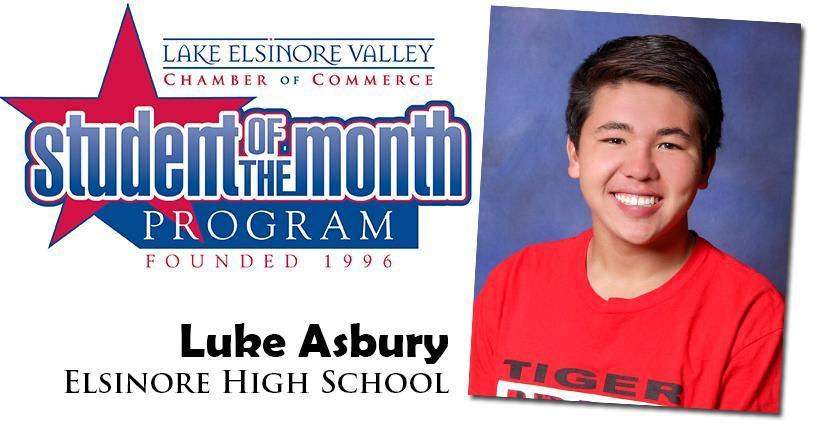 Luke Asbury, Elsinore HS, Student of the Month Honoree for September 15, 2020.