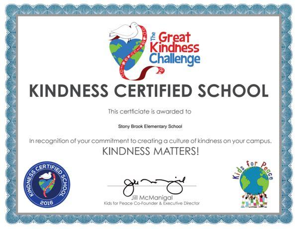 Kindness Certified School certificate