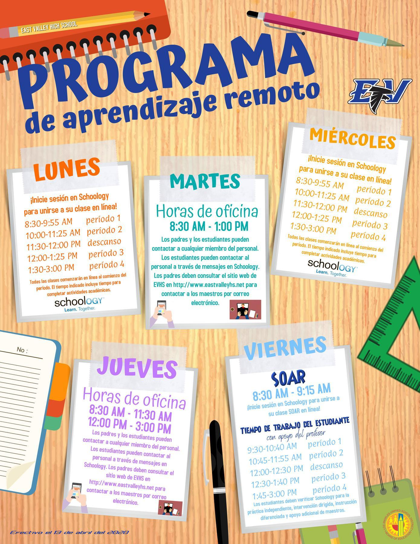 Remote Learning Plan Spanish
