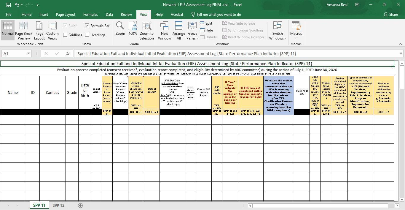 Image of Special Education Full and Individual Initial Evaluation Assessment Log Excel document
