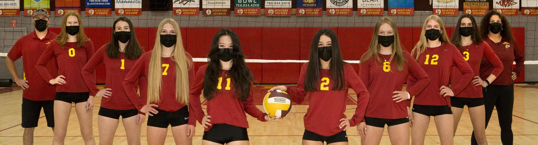 Varsity Girls Volleyball with masks