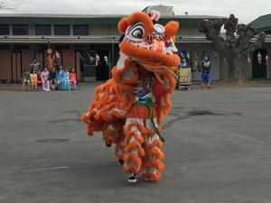 Special lion dancers perform at Lairon.