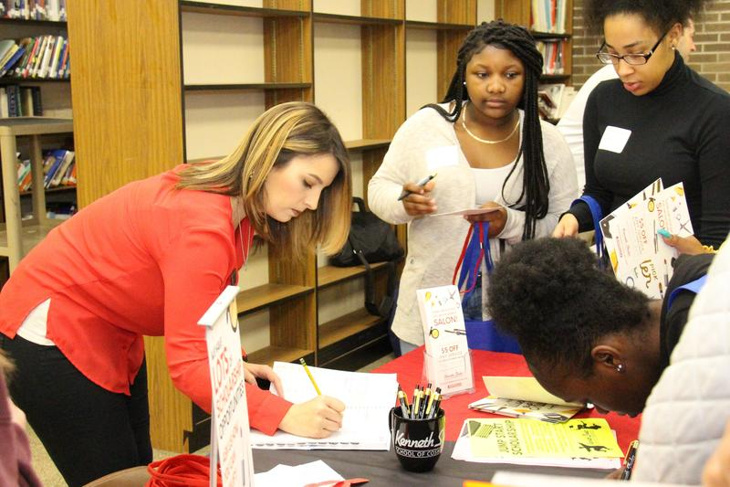 Lauren Thompson, an admissions representative from Kenneth Shuler School of Cosmetology, books consultation appointments for B-L High School students who are interested in the cosmetology field.