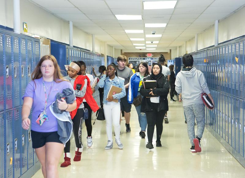 students walking in hall