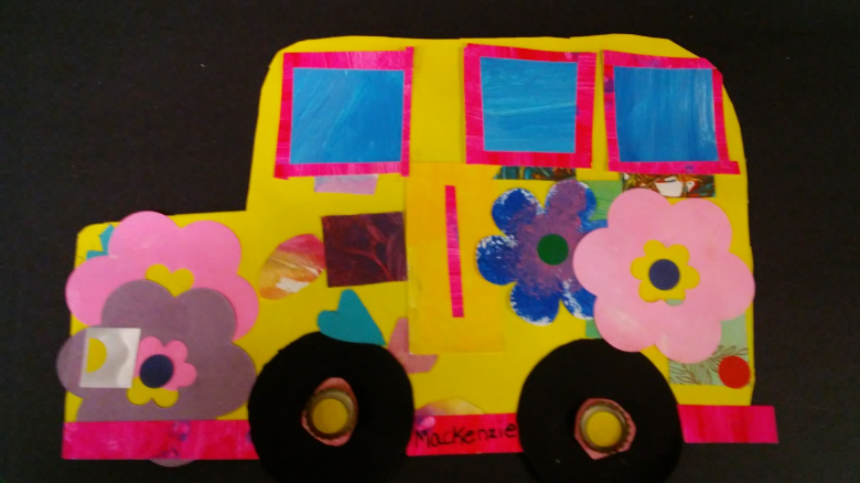 Picture of Mackenzie Kennedy's school bus artwork.