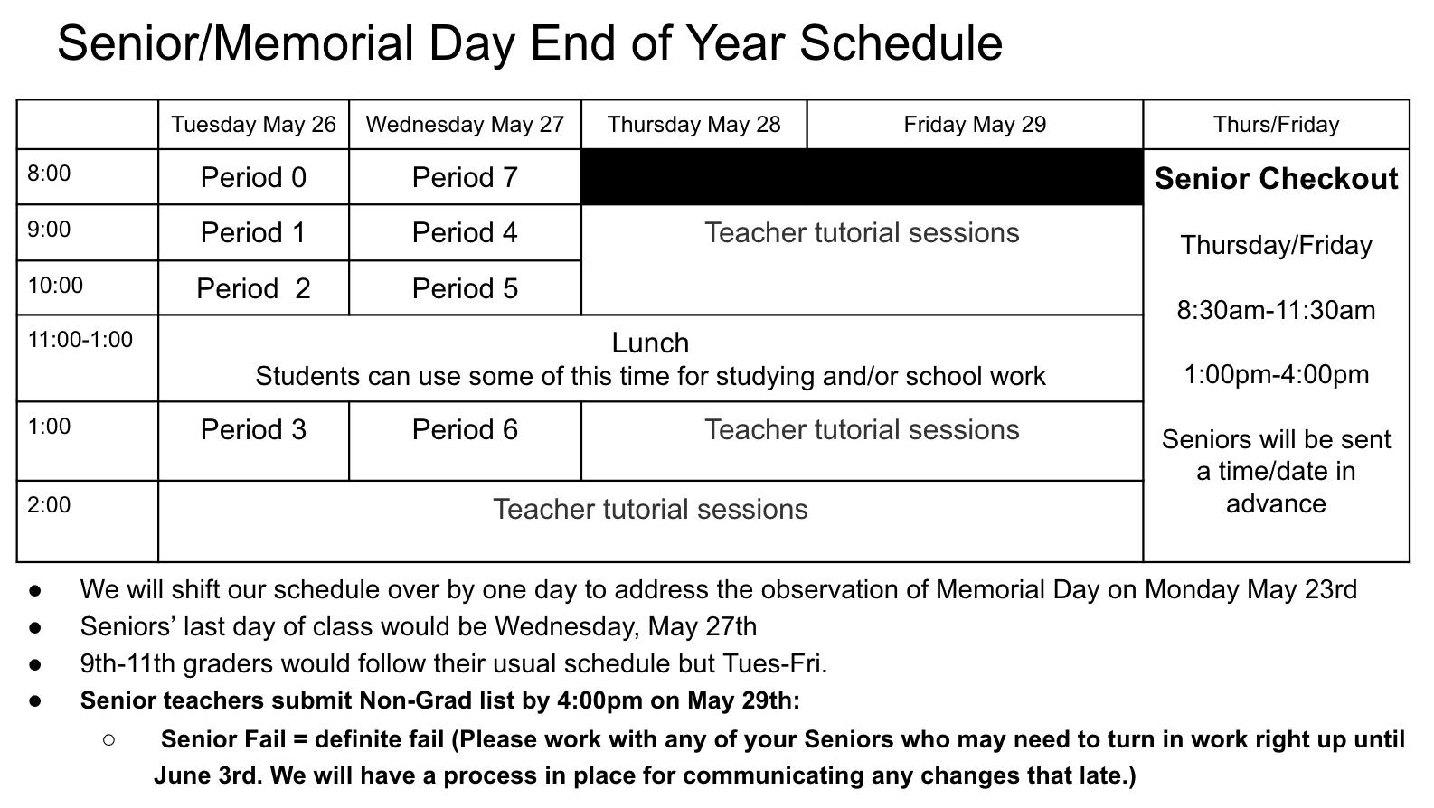 Senior End of Year Schedule