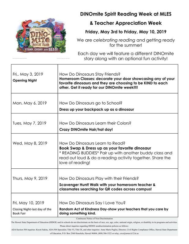 Dinomite Book Fair Spirit Week: May 6th-May 10th Thumbnail Image
