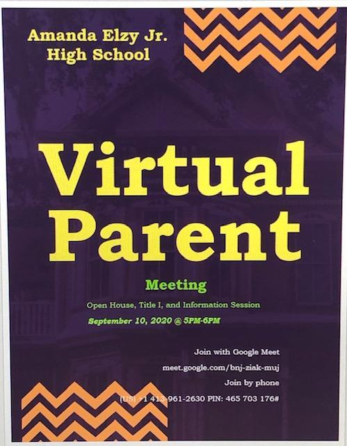 Virtual Parent Meeting September 10 @5pm Featured Photo