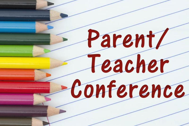 colored pencils next to text for Parent Teacher Conferences