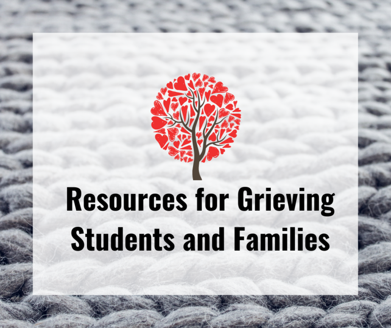 Resources for Grieving Families graphic with tree with hearts
