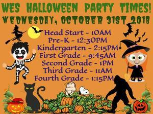 WES Halloween Parties - Wednesday October 31, 2018