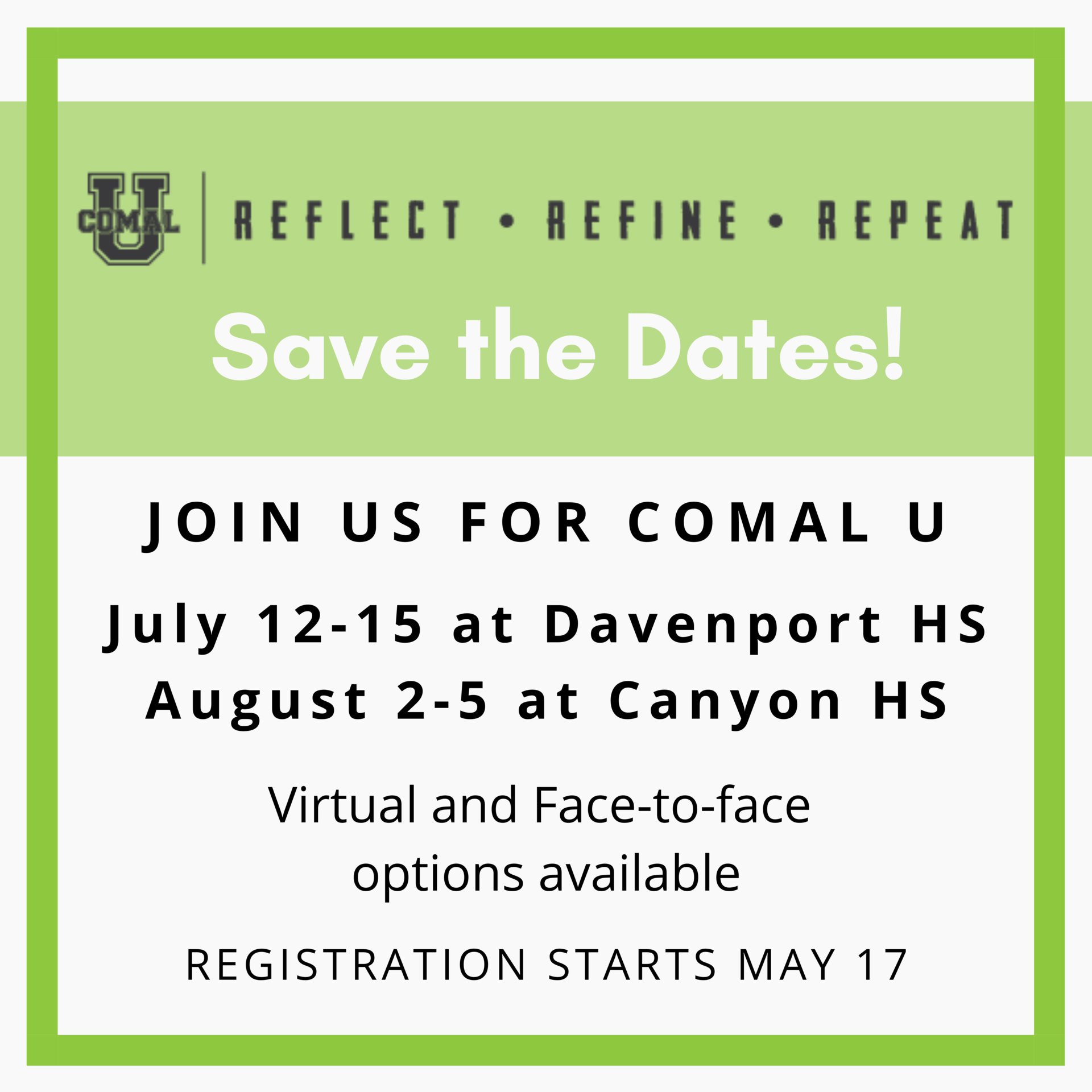 Save the date for Comal U 2021