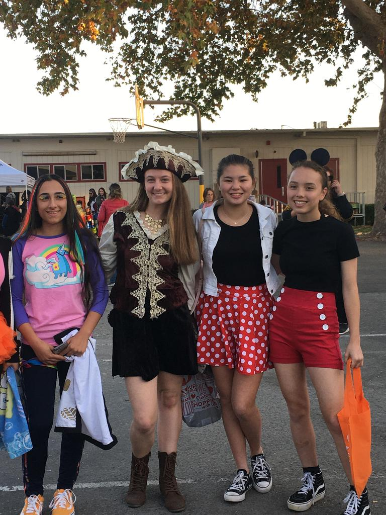students dressed up in halloween costumes