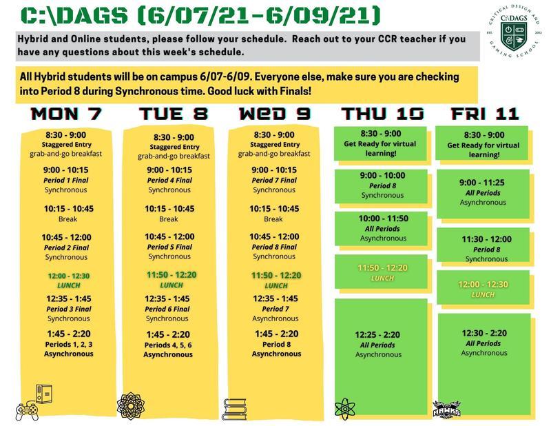 CDAGS Finals Schedule 6/7-6/11 Featured Photo