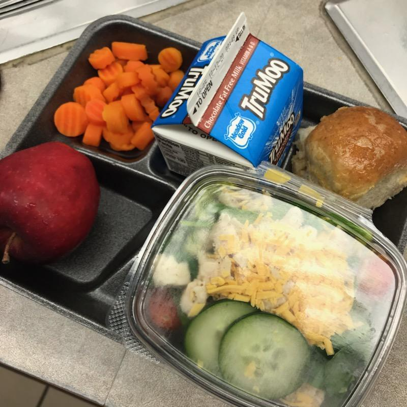 School lunch tray with apple, milk, carrots, roll and salad