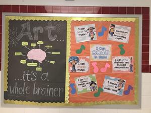 bulletin board display: Art is a whole brainer and I Can be (things they can do)