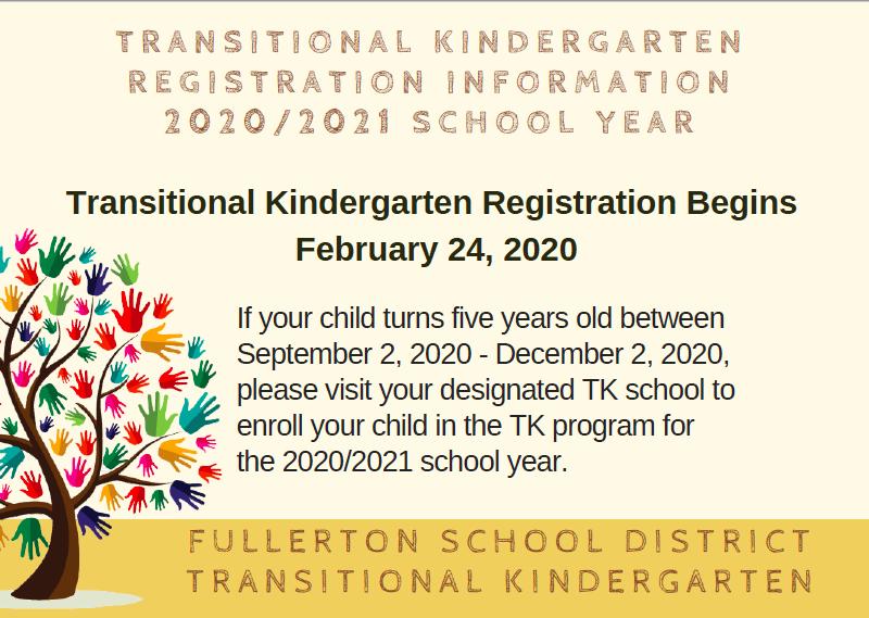Transitional Kindergarten Registration Information