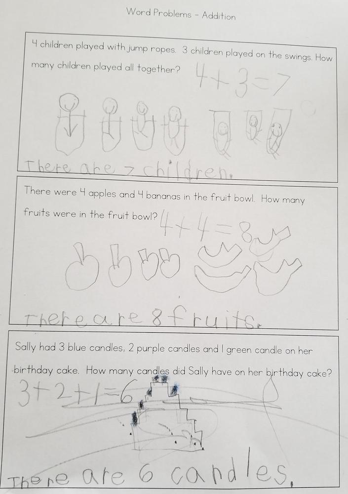Student work sample of word problems