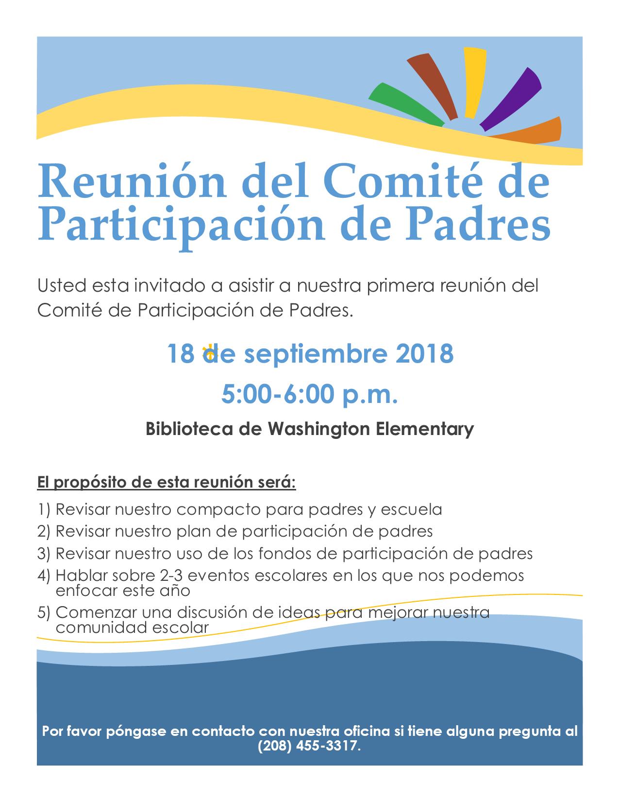 Folleto para la reunión de participación de padres el 18 de septiembre a las 5 p.m.