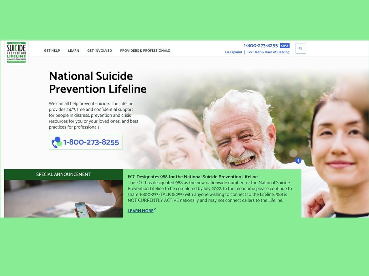 Suicide Prevention Lifeline (800) 273-8255