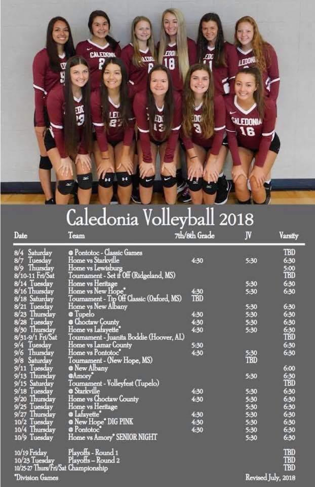 2018 Volleyball Schedule