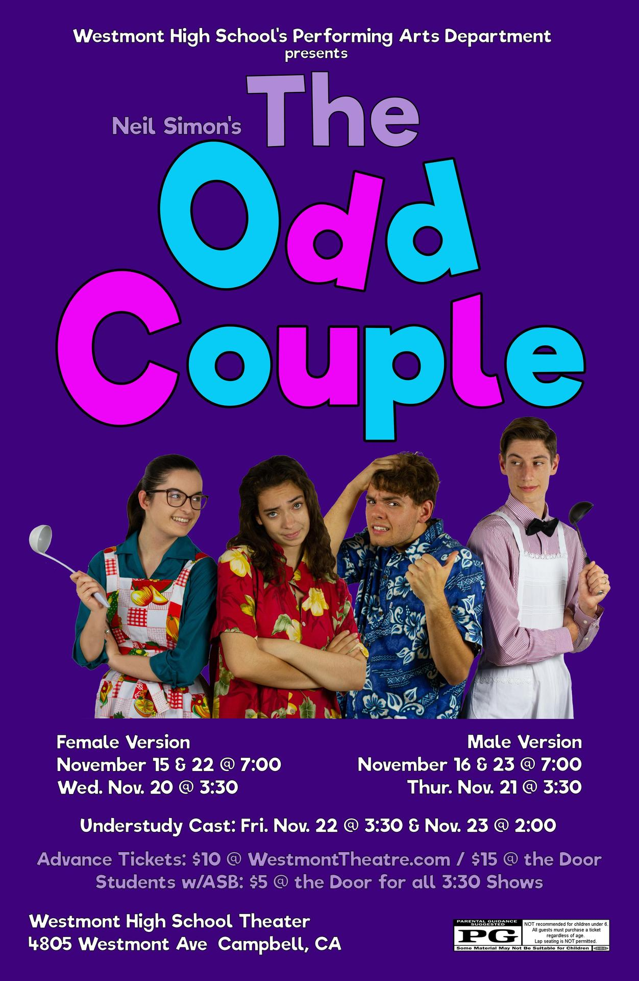 ODD COUPLE poster with photo of both sets of leads