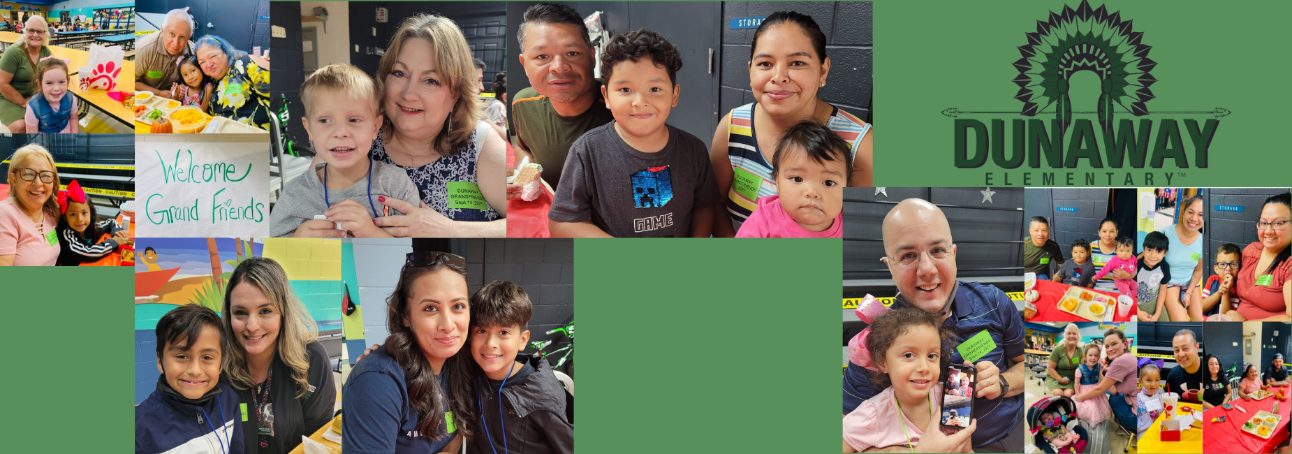 collage of photos with kiddos having lunch with grandparents at school