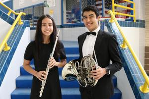 Pictured are Veterans Memorial High School band students, Rodrigo Barrera (Horn) and Laura Barba (Flute), received 5A All-State honors.
