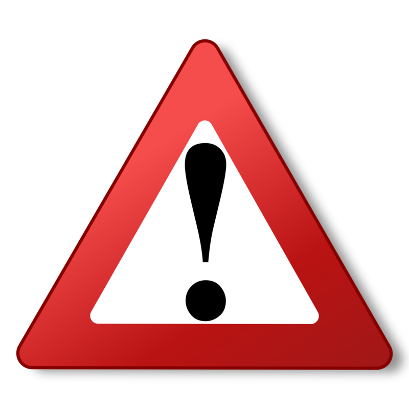 Clipart:  Red Triangle with exclamation point.