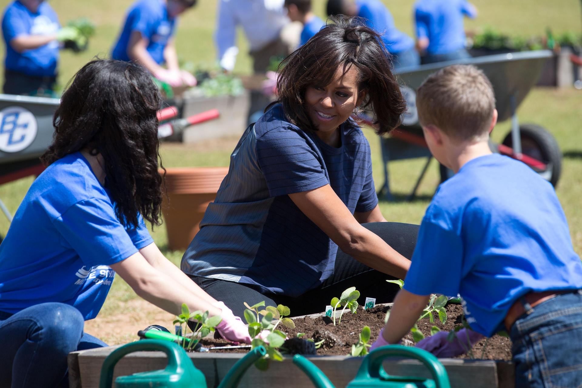 Michelle Obama visit to plant in Burke County Middle School gardens