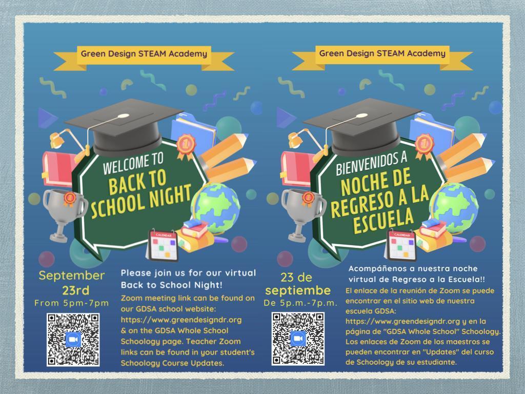 Green Design BACK TO SCHOOL NIGHT - Thursday, September 23, 5:00 - 7:00 PM Image