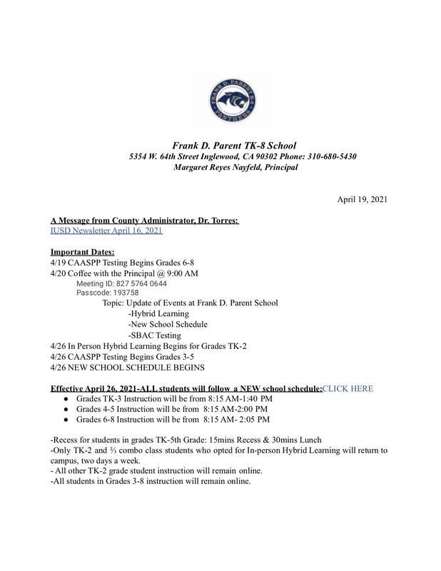 FDP Weekly Updates 4/18/21