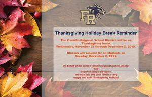 Thanksgiving Break Reminder Card